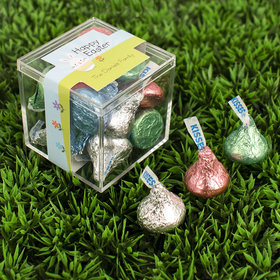 Personalized Easter Bunny and Chick Peeps JUST CANDY® favor cube with Hershey's Kisses