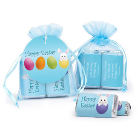 Personalized Easter Hatched an Egg Hershey's Miniatures in XS Organza Bags with Gift Tag