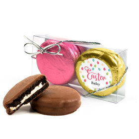 Personalized Easter Eggs & Flowers 2Pk Pink & Gold Foiled Chocolate Covered Oreo Cookies