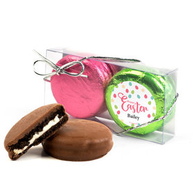 Personalized Easter Eggs & Flowers 2Pk Pink & Lime Green Foiled Belgian Chocolate Covered Oreo Cookies
