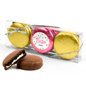 Personalized Easter Eggs & Flowers 3PK Pink & Gold Foiled Chocolate Covered Oreo Cookies