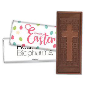 Add Your Logo Easter Eggs & Flowers Embossed Chocolate Bar & Wrapper