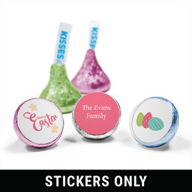 "Personalized Easter Eggs & Flowers 3/4"" Sticker (108 Stickers)"