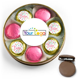 Add Your Logo Easter Eggs & Flowers Chocolate Covered Oreo Cookies Large Plastic Tin