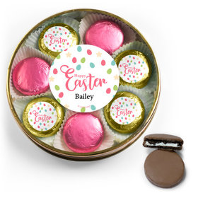 Personalized Easter Eggs & Flowers Chocolate Covered Oreo Cookies Large Plastic Tin