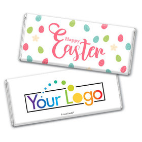 Add Your Logo Easter Eggs & Flowers Chocolate Bar & Wrapper