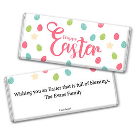 Personalized Easter Eggs & Flowers Chocolate Bar & Wrapper