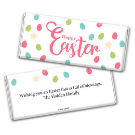 Personalized Easter Eggs & Flowers Chocolate Bar Wrappers
