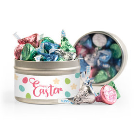Personalized Easter Eggs & Flowers 8oz Tin with Label