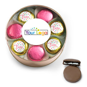 Add Your Logo Easter Eggs & Flowers Belgian Chocolate Covered Oreo Cookies Extra-Large Plastic Tin