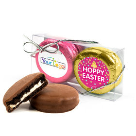 Add Your Logo Easter Pink Dots 2Pk Pink & Gold Foiled Chocolate Covered Oreo Cookies