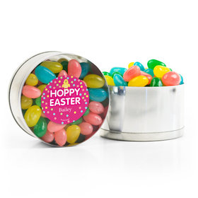Personalized Easter Pink Chick Spring Mix Jelly Beans Small Plastic Tin