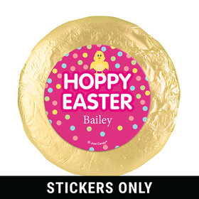 """Personalized Easter Pink Chick 1.25"""" Stickers (48 Stickers)"""