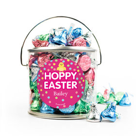 Personalized Easter Pink Chick Silver Paint Can with Sticker - 1lb Spring Mix Kisses