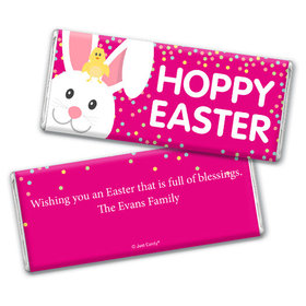 Personalized Easter Pink Chick Chocolate Bar & Wrapper