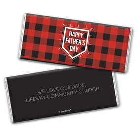 Personalized Father's Day Modern Plaid Chocolate Bar & Wrapper