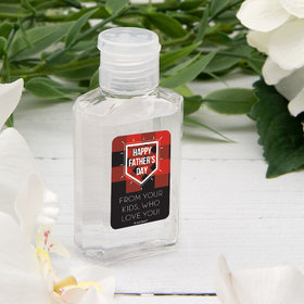 Personalized Father's Day Plaid Hand Sanitizer with Carabiner - 2 fl. Oz.