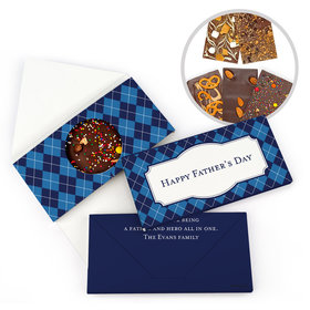 Personalized Argyle Pattern Father's Day Gourmet Infused Belgian Chocolate Bars (3.5oz)