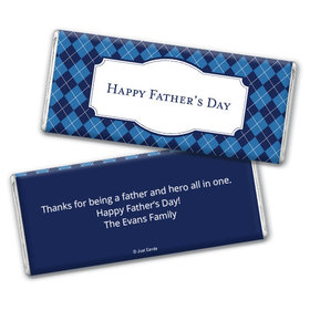 Personalized Father's Day Argyle Pattern Chocolate Bar Assembled