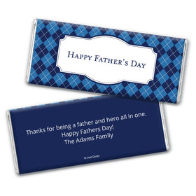 Personalized Father's Day Argyle Pattern Chocolate Bar Wrappers