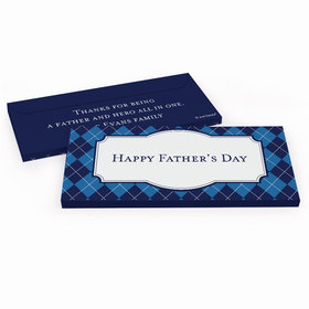Deluxe Personalized Argyle Pattern Father's Day Candy Bar Favor Box