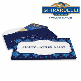 Deluxe Personalized Argyle Pattern Father's Day Ghirardelli Chocolate Bar in Gift Box