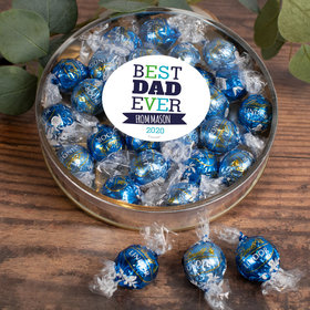 Personalized Father's Gift Gifts Large Plastic Tin with Lindt Truffles (24pcs) - Best Dad Ever