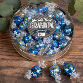 Personalized Father's Day Gifts Large Plastic Tin with Lindt Truffles (24pcs) - Established Grandpa