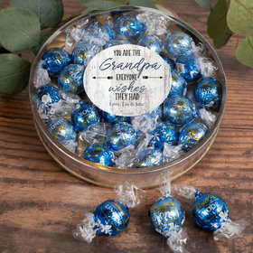 Personalized Grandfather's Gift Gifts Large Plastic Tin with Lindt Truffles (24pcs) - Grandpa Everyone Wishes For