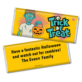 Halloween Personalized Chocolate Bar Trick or Treat Zombie