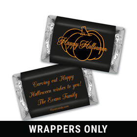 Halloween Personalized HERSHEY'S MINIATURES Wrappers Pumpkin Outline