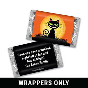 Black Cat Moon Halloween Personalized Miniature Wrappers
