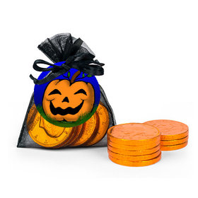Halloween Jack-O'-Lantern XS Organza Bag of Chocolate Coins with Gift Tag