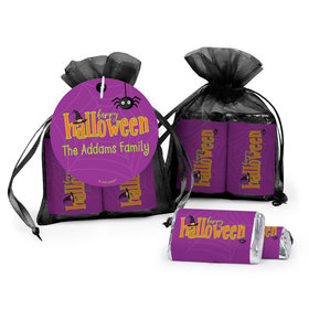 Personalized Halloween Spirit Hershey's Miniatures in Organza Bags with Gift Tag