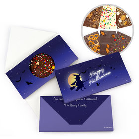 Personalized Halloween Witch on Broom Bar Gourmet Infused Belgian Chocolate Bars (3.5oz)