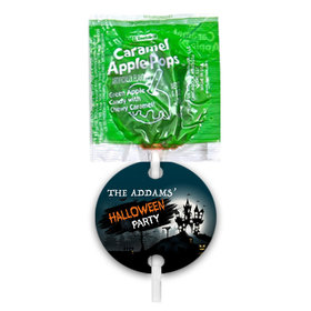 Personalized Halloween Spooky Caramel Apple Pops with Gift Tags (48 pops)