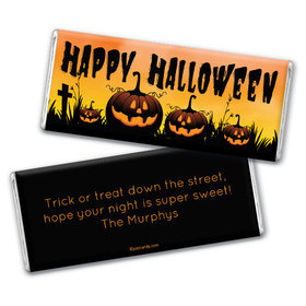 Personalized Halloween Jack-o'-lanterns Chocolate Bar & Wrapper