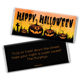 Personalized Halloween Jack-o'-lanterns Chocolate Bar Wrappers