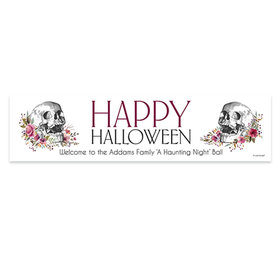 Personalized Halloween Floral Skull 5 Ft. Banner