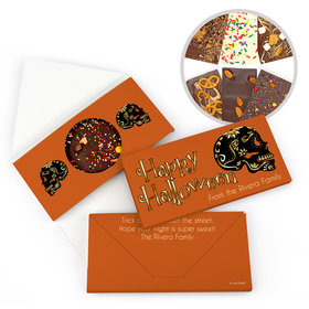 Personalized Halloween Guilded Sugar Skull Bar Gourmet Infused Belgian Chocolate Bars (3.5oz)