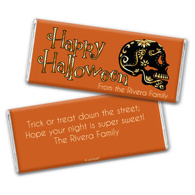 Personalized Halloween Guilded Sugar Skull Chocolate Bar & Wrapper