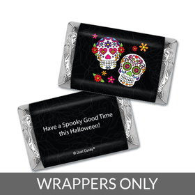 Personalized Halloween Festive Sugar Skulls Hershey's Miniatures Wrappers