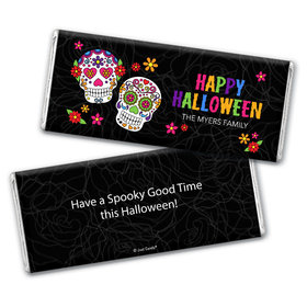 Personalized Halloween Festive Sugar Skull Chocolate Bar & Wrapper