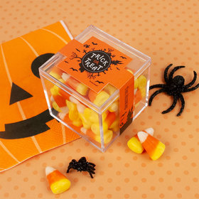 Personalized Halloween Sweet Treats JUST CANDY® favor cube with Candy Corn