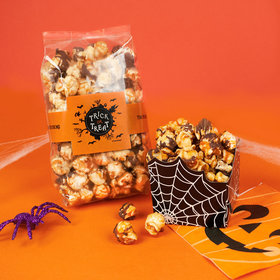 Personalized Halloween Sweet Treats Chocolate Caramel Sea Salt Gourmet Popcorn 8 oz Bags