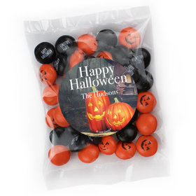 Personalized Halloween Candy Bag with JC Minis Milk Chocolate Gems - Pumpkin Greetings