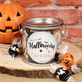 Personalized Halloween Paint Can Gift Creepy Halloween Lindor Truffles by Lindt