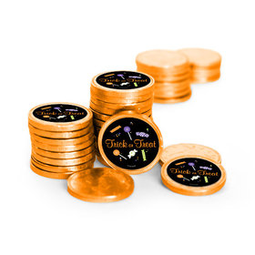 Personalized Halloween No Tricks Just Treats Chocolate Coins (84 Pack)