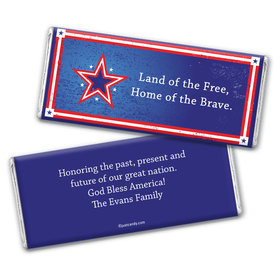 Patriotic Stars Personalized Candy Bar - Wrapper Only