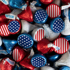 Patriotic Hershey's Kisses Candy with Stars & Stripes Stickers